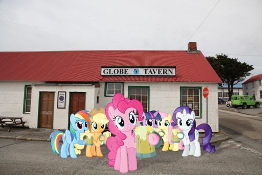 The Mane 6 at the Globe Tavern by Uponia