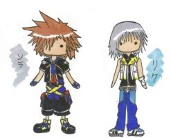 Sora and Riku chibis by Unichi
