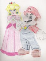Mario and Peach by Lady-of-Link