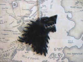Game of Thrones House Stark Direwolf Necklace by ClayMyDay