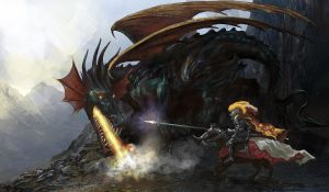 Knight and Dragon by serg4d