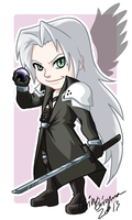 Chibi Sephiroth Badge by TwinEnigma