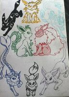 The Eeveelutions by Raven-ftw