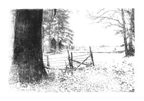 Etching: Home in Snow by LOOMcomics