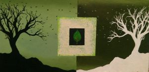 Opposites (Green Tree Abstract) by debbynaomi