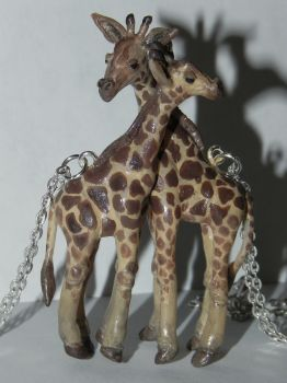 Giraffe's Embrace, Cute Giraffes, Best Friends Nec by Secretvixen