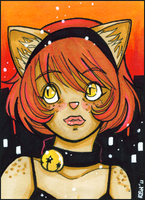ACEO - 045 - Cat Girl by tea-bug