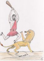 Heracles and The Nemean Lion by Nina-13draco