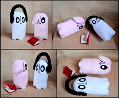 Napstablook and Happstablook plushies by lazyperson202