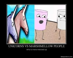Unicorns vs Marshmellow people by WeirdAlsFollower