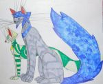 Crystal Gem cats: Water and Thorn by MainecoonLena