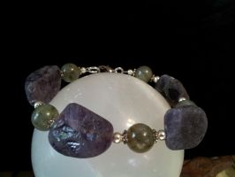 Amethyst And Labradorite Bracelet by BacktoEarthCreations