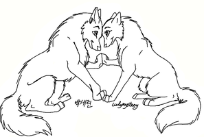 Free Wolf Couples Lineart by LuvlyMystery