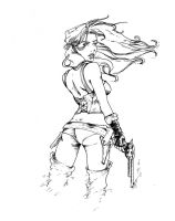 Gunslinger Jill: inked by LiliththeSilent