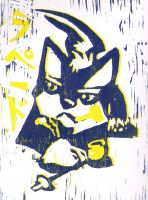 Repede Wood Block Print blue by Exile-wolfy