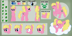 Sweetie Bloom Reference Sheet (Commission) by CadetRedShirt