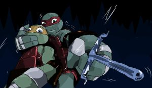 raph protect Mikey by SewerBunny