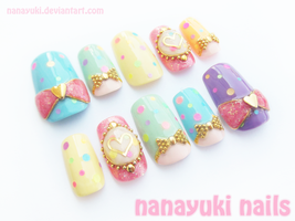 Polkadot Love nails by Nanayuki