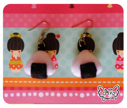 .: Onigiri Plush Earrings :. by Angeru-Charms