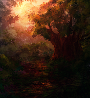 forest sunset by llRobinll
