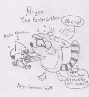 Pic idea: Rigby the baby-sitter XD by RegularBluejay-girl