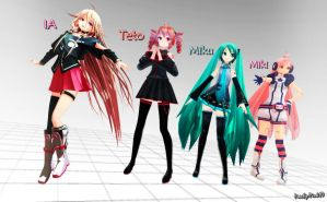 3 Vocaloids 1 Utau Boxart Poses by Peachy-Pink10