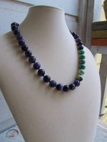 Knotted Charoite and African Turquoise Necklace by SadiesAccessories
