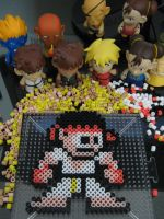 Ryu 8-bit bead art by h0lysharks