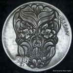 Hand Carved Floral Skull  Hobo Nickel by shaun750