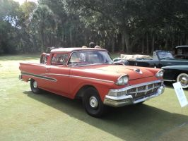 1958 (?) Ranchero with Harley-Davidson by prestonthecarartist