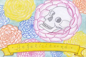 Birthdaycard Skull and Flowers - Dutch by DarkMysteryCat
