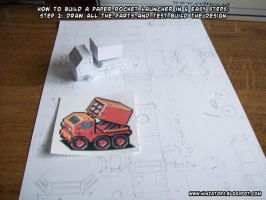 paper rocket launcher step 2 by ninjatoespapercraft