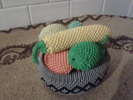 3D Origami Fruit Basket with Fruits by Vycka3DO