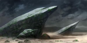 Speedpainting rocks by Grimhel