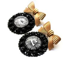 Black Gold Cameo Frame Allseeing Eye Earrings by asunder