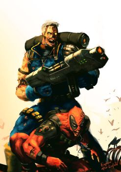 Zombie Cable and Deadpool by EspenG