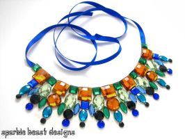 Peacock Inspired Rhinestone Collar Necklace by Natalie526