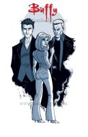 Buffy with Angel and Spike by Hodges-Art