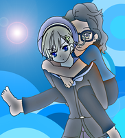 Norway giving a piggyback ride to Lolita64 by Sweetgirl333