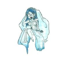 Chibi Emily corspe bride water color by EvaHuynh
