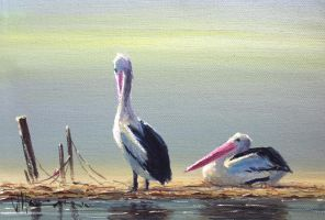 Coastal Oil Painting- 'Lazy Day' by jo-hagan