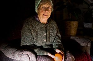 grandma with orange by redgreenboo