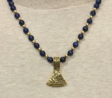 Viking Axe on Lapis Lazuli Necklace by GoodSpiritWolf