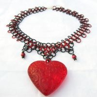 Gothic Heart Necklace by merigreenleaf