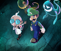 Dr. Egadd and Luigi - New Moon by PinkPuffKirby