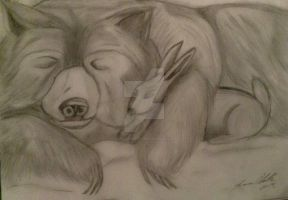 snuggle bear and cuddle bunny by tracieodette