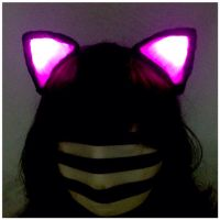 Pink and Black GLOWING clip on cat ears, FINALLY! by GeekStarCostuming