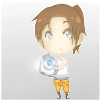 Chell and Wheatley by JJ-Power