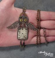 GUARDIAN ANGEL ROBOT OOAK steampunk pendant by bodaszilvia