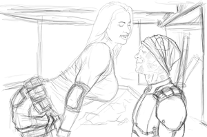 deadpool and mystique sketch by ivo0599